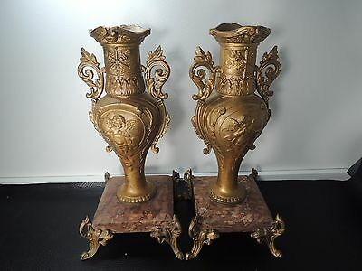 19c.Pair French Bronzed Spelter & Marble Base Table Urns Mantel Vases