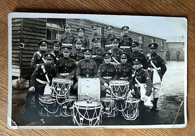 WW1 SOLDIERS MILITARY BAND at CAMP. RP POSTCARD