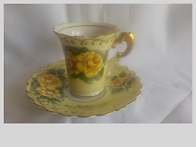 Vintage Lefton China Footed Tea Cup & Saucer Yellow Roses Demitasse