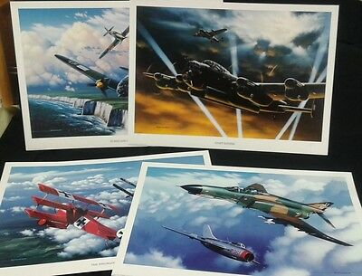 1993 Stokes Collection Lithographs War Planes Set/4 Signed Numbered COAs