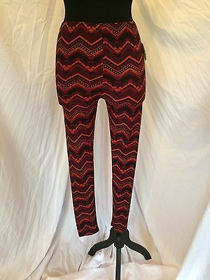 Womens Inspire  Maternity Ankle Leggings Size M Red Zig Zag Pattern Boho NWT