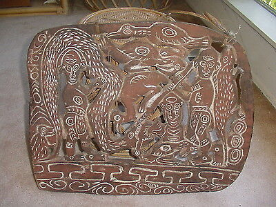 Old Vintage Papua New Guinea Tribal Art Carved Wood Storyboard