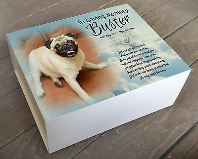 Personalised memory box, urn memorial casket Cremation, Pug pet dog