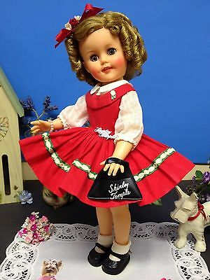 """* RARE Tagged Original 15"""" Ideal Shirley Temple Doll Red Jumper Dress & Purse *"""