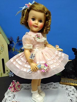 """*Tagged Original 15"""" Ideal Shirley Temple Doll In Pretty Pink Nylon Party Dress*"""