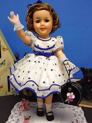 """*Tagged Original 17"""" Ideal Shirley Temple Doll In Stand Up & Cheer Party Dress!*"""