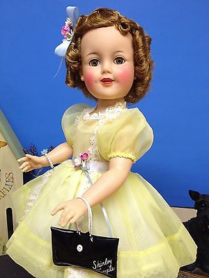 """*Tagged Original 19"""" Ideal Shirley Temple Doll In Yellow Nylon Party Dress*"""