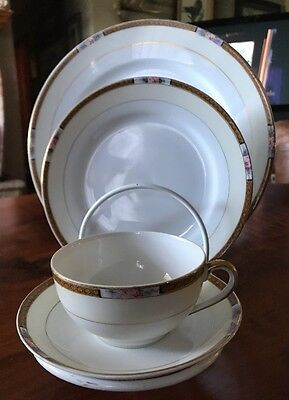 Noritake CHANOSSA 4 Pc Place Setting Service For 4 Plates Cups Saucers 16 Pieces