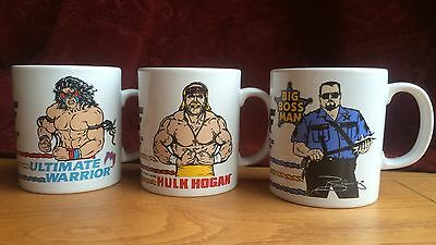 Set of three vintage WWF (WWE) Mugs - Hulk Hogan, Ultimate Warrior, Big Boss Man