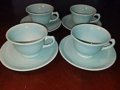 Vintage 1947 T.S.&.T Lu Ray Pastels Surf Green 4Pc Tea Cup and Saucer Set/Lot
