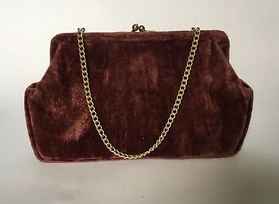 Vintage Brown Crushed Velvet Evening Bag Clutch Purse With Chain Strap