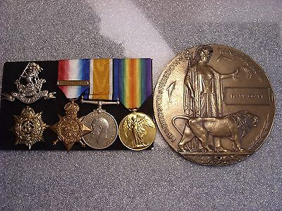 1914 Star & Bar Trio  Plaque Frank Covey Trench Raid casualty WRR  Westcott ASC