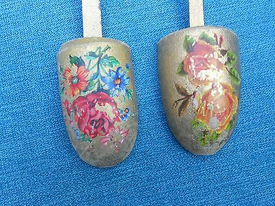 2 Antique / Vintage Gilded And Hand Painted Wood & Steel Shoe Trees / Stretchers