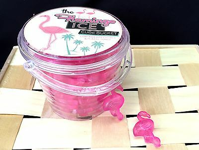 20 Flamingo Design Ice Cubes Reusable For Cold Drinks Bar Retro Kitsch BBQ Pink