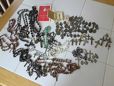 Mixed Lot 83 Vtg Catholic Religious Rosaries, Medals , Crucifix's 8 Sterling