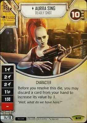 Star Wars Destiny - Aurra Sing (Elite) Rare Card + 2 Dice - Spirit of Rebellion
