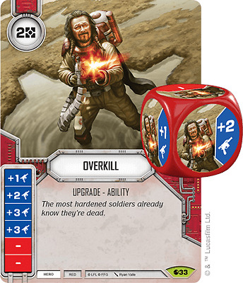Star Wars Destiny - Overkill Rare Card plus Die - Spirit of Rebellion