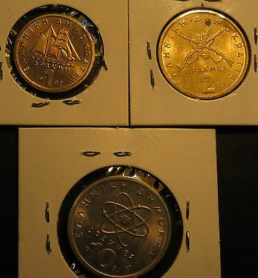 1982 GREEK 1, 2 AND 10 Drachma (PAXMH) coins  -