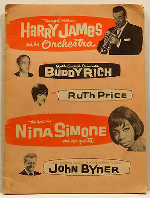 1964 Harry James Concert Program - Nina Simone Buddy Rich Ruth Price John Byner