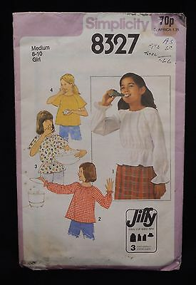 1970s SEWING PATTERN SIMPLICITY 8327 : GIRLS' JIFFY PULLOVER BLOUSE SIZE 8-10