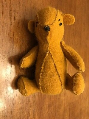 "Vintage Adorable Winnie The Pooh 5"" Handmade Felt Character Arms & Legs Move"