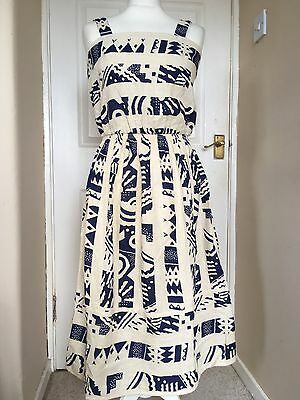 1980s Summer Dress - Cotton - Tribal Like Print - Size 10 12