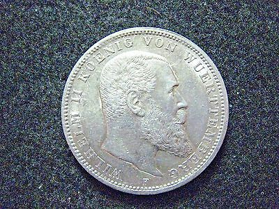 1911 F German State Wurttemberg 3 Mark Silver High AU+ Grade Frosty Coin