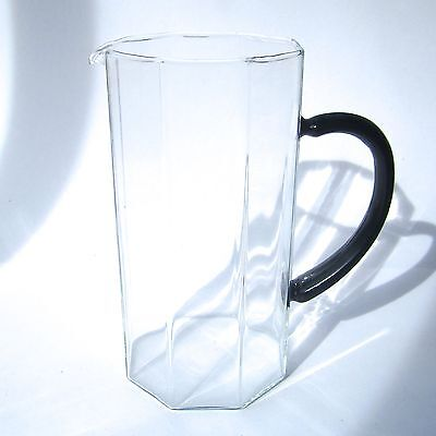 Vintage Arcoroc Clear Glass Pitcher Jug OCTIME Black Glass Handle French c1980