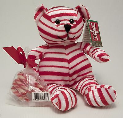 "Vintage Candy Cane Teddy Bear Gallerie 8"" Stuffed Plush Toy Red White Christmas"