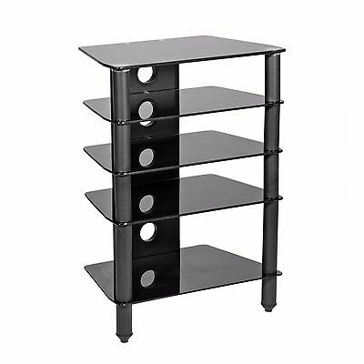 MMT Hi Fi stand rack 5 shelf black glass black matt legs av hi-fi support unit