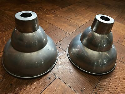 Pair Vintage Industrial Beehive Photax Aluminium Photographic Light Lamp Shades