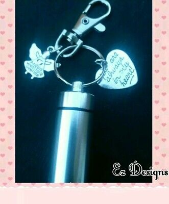 Cremation Jewellery./keepsake Urn Keyring MEMORIAL HEART Remembrance Gift