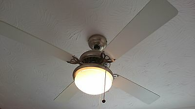 CELLING FAN LIGHT with 4 white blades & 1 light frosted glass, Crome.