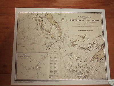 1870 Laurie's MAP of North West Territories Canada Lake Superior to L Winnipeg