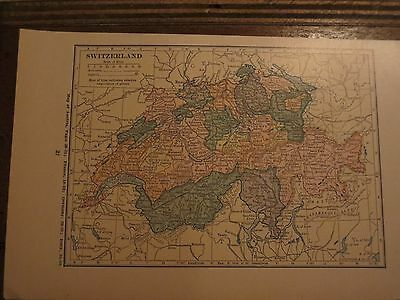 1923   Funk & Wagnalls Vintage  Map SWITZERLAND