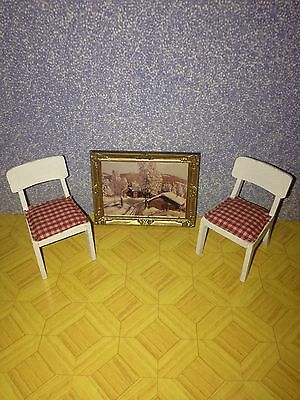 Vintage Dolls House Lundby Chairs And Picture