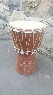 African Bongo Carved Solid Hard Wood Wooden Djembe Drum Instrument