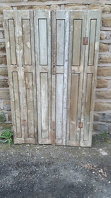 Pair of Vintage Antique French Window Shutters Shutter Doors 3 Fold Green Wooden