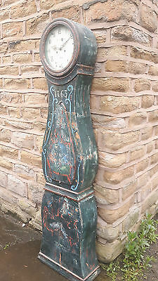 Antique Swedish Painted Mora Clock Longcase Grandfather Gustavian 18th Century