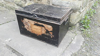 Tala Vintage Antique Retro Black Metal Tin Storage Trunk Chest Box Old Labels