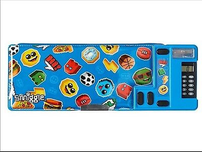 New Smiggle Says Pop Out Pencil Case + Calculator Blue * Boys * Football *