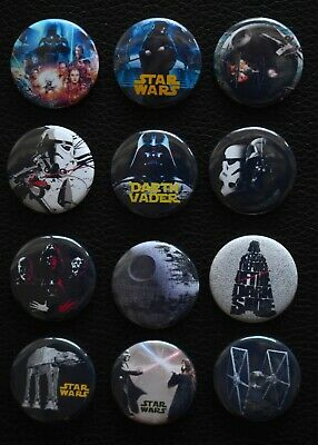 Set of 12 - FREE Shipping Star Wars Characters 1 Inch Buttons
