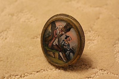 Tiny vintage hand painted picture with gold frame Brooch Rare Porcelain Limoges?