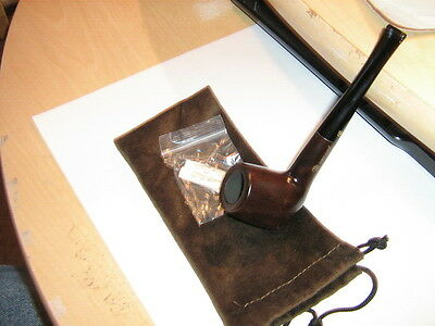 Nice New Brown Ebony 9Mm Tobacco Smoking Pipe With  Nice Pouch