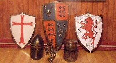 Large Shield,helmets  , Medieval Style And Candelstick