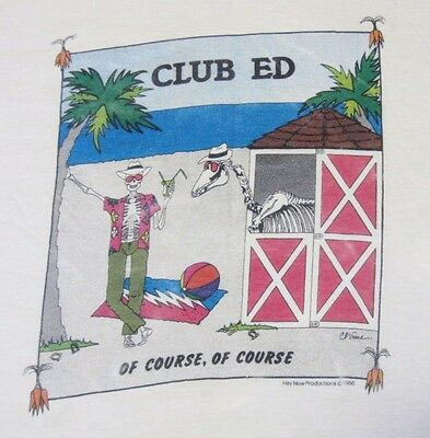 "Vintage 1986 GRATEFUL DEAD T-Shirt ""CLUB ED"" from the CLUB DEAD series RARE!  Lg"