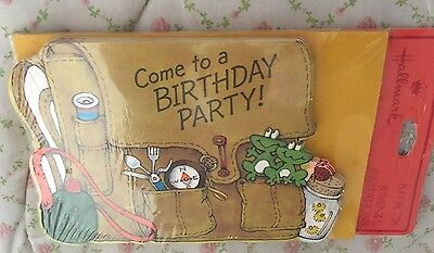 New LOT vintage Hallmark birthday party invitations Frog Camp Backpack Canteen
