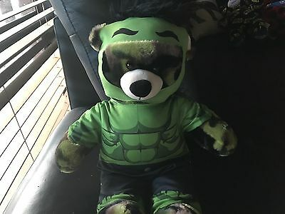 Build A Bear Camo Bear With Hulk Costume+ Bubble Smell