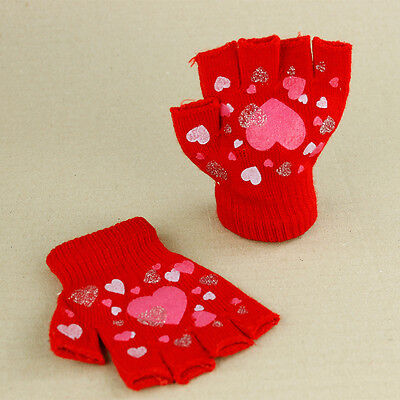 Red Fingerless Knitted Gloves Pink Hearts Stretchy Girls Children Kids 3 yrs up