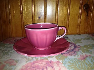 Vintage WS George China Rose Pink Petal Ware Cup & Saucer Set Petalware LOVELY